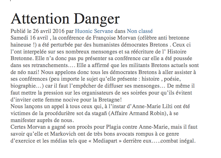 Huonic Attention danger